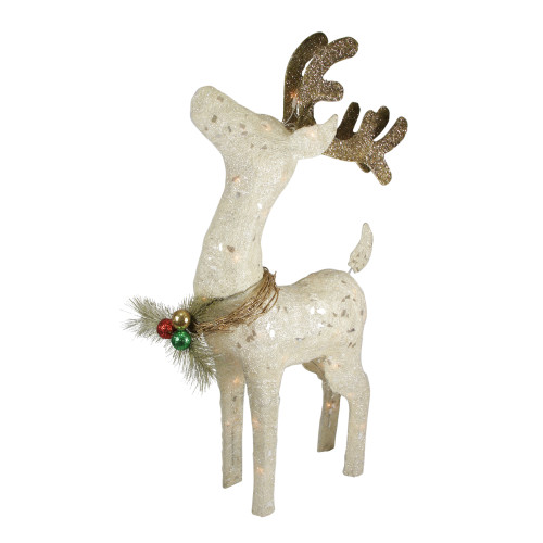 """37"""" White and Brown Lighted Sparkling Standing Reindeer Outdoor Christmas Decor - IMAGE 1"""