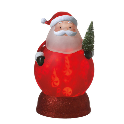 """11"""" Battery Operated Frosted Santa Claus with Christmas Tree Rotating Night Light - IMAGE 1"""