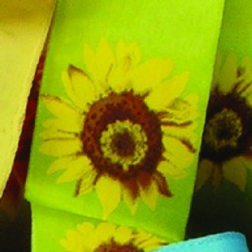 """Green and Yellow Sunflower Print Wired Craft Ribbon 1.5"""" x 27 Yards - IMAGE 1"""
