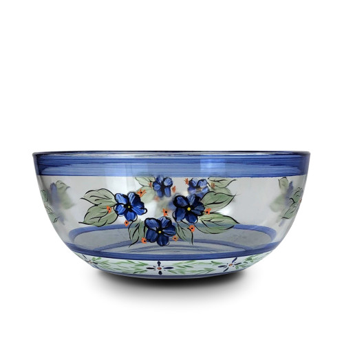 """Blue and White Floral Hand Painted Glass Serving Bowl 11"""" - IMAGE 1"""