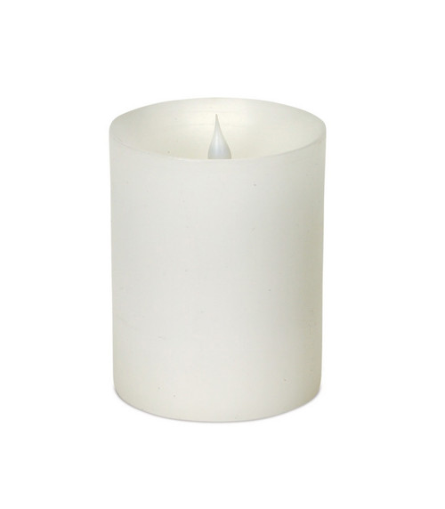 "5.25"" Pre-Lit White Flameless LED Pillar Candle - IMAGE 1"