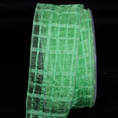 """Green Solid and Sheer Check Wired Craft Ribbon 2"""" x 27 Yards - IMAGE 1"""