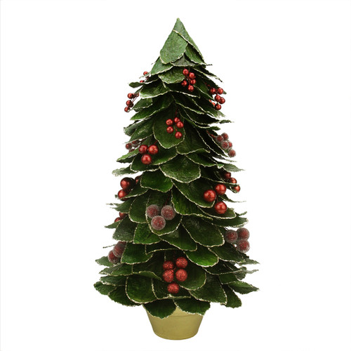"""18"""" Green and Red Holly Berry Glittered Leaf Potted Christmas Tree Tabletop Decor - IMAGE 1"""