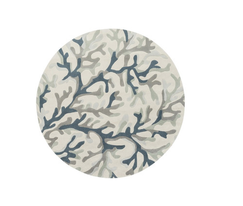 8' Contemporary Teal Blue and Ivory Hand Tufted Round Area Throw Rug - IMAGE 1