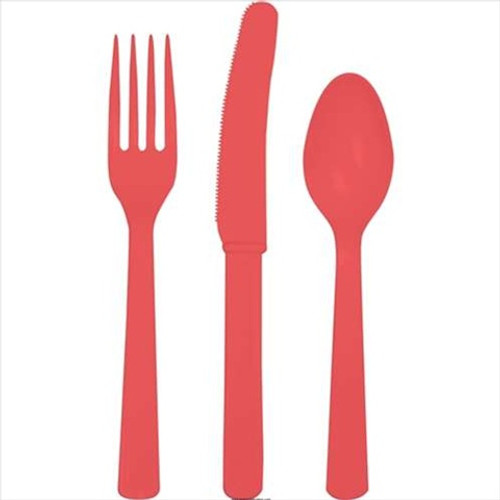 """Club Pack of 288 Coral Pink Red Premium Heavy-Duty Plastic Party Knives, Forks and Spoons 7.5"""" - IMAGE 1"""