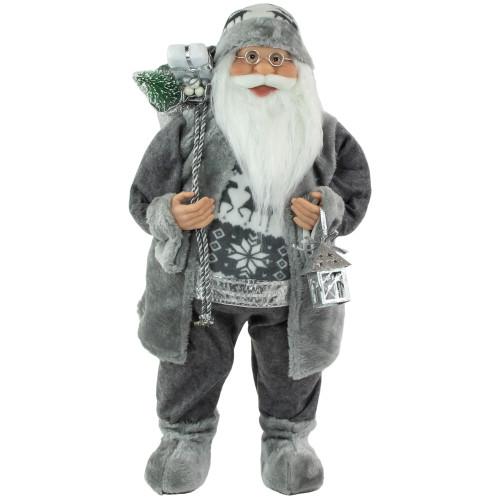 "24"" Gray and White Standing Santa Claus Christmas Figurine - IMAGE 1"