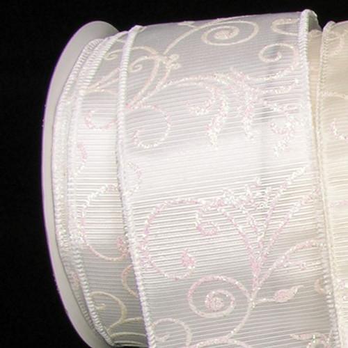 "White Glitter Wired Craft Ribbon 2.5"" x 40 Yards - IMAGE 1"