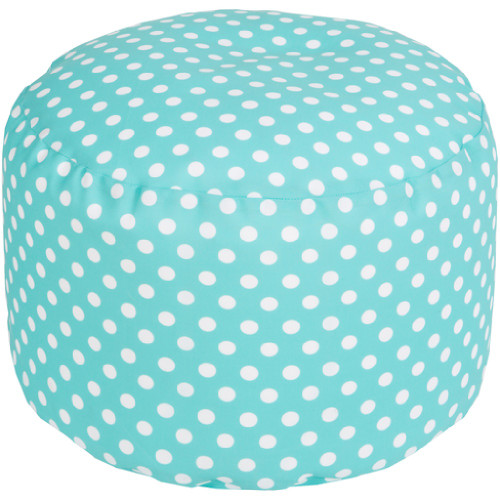 "20"" Sky Blue and Ivory Simply Polka Dot Round Outdoor Patio Pouf Ottoman - IMAGE 1"