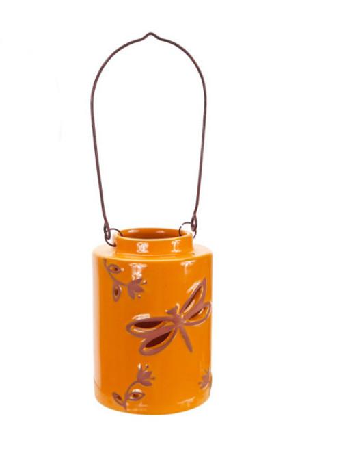 """12.5"""" Orange Cut-Out Dragonfly Tea Light or Votive Candle Holder - IMAGE 1"""