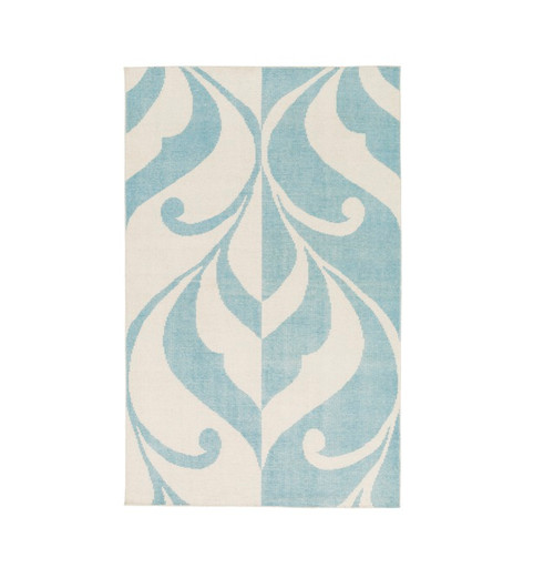8' x 10' Vainglorious Chattel Blue and Ivory Hand Knotted Rectangular Wool Area Throw Rug - IMAGE 1