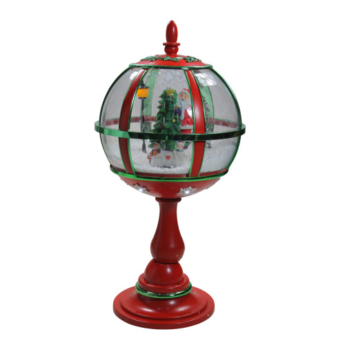 """23.5"""" Lighted Red and Green Musical Snowing Santa with Christmas Tree Table Top Street Lamp - IMAGE 1"""