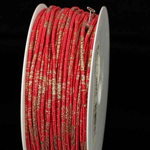 """Red and Gold Wired Craft Ribbon 0.25"""" x 55 Yards - IMAGE 1"""