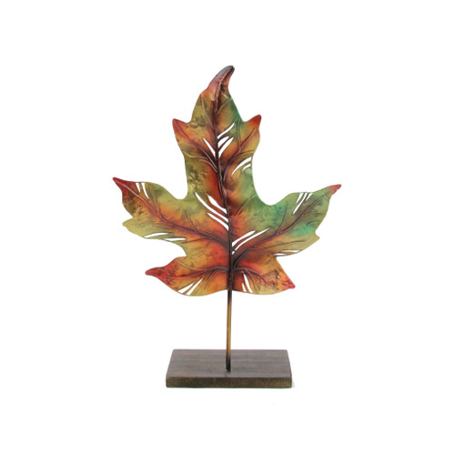 "14"" Green and Brown Autumn Maple Leaf Votive Candle Holder - IMAGE 1"