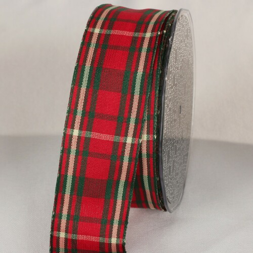 """Scarlet Red and Green Plaid Tartan Wired Craft Ribbon 1.5"""" x 30 Yards - IMAGE 1"""