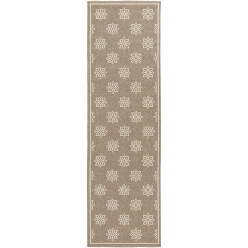 2.25' x 7.75' Brown and Beige Shed-Free Area Throw Rug Runner - IMAGE 1