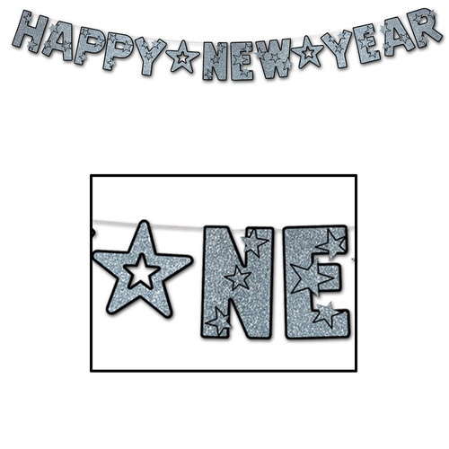 """Club Pack of 12 Black and Silver Glittered Happy New Year Streamer Party Decorations 102"""" - IMAGE 1"""