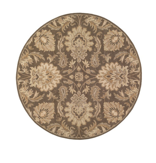 4' Gray and Brown Hand Tufted Round Wool Area Throw Rug - IMAGE 1