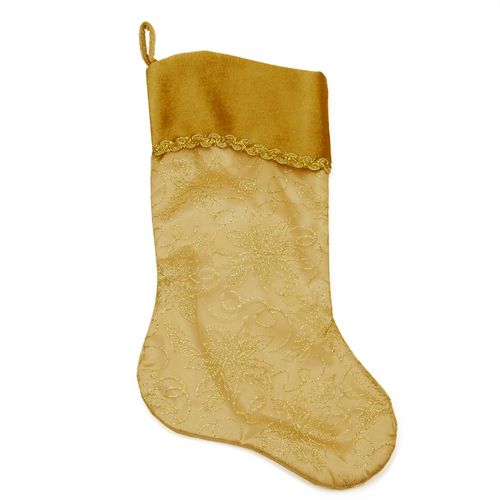 """20"""" Gold and Brown Glittered Poinsettia Christmas Stocking - IMAGE 1"""