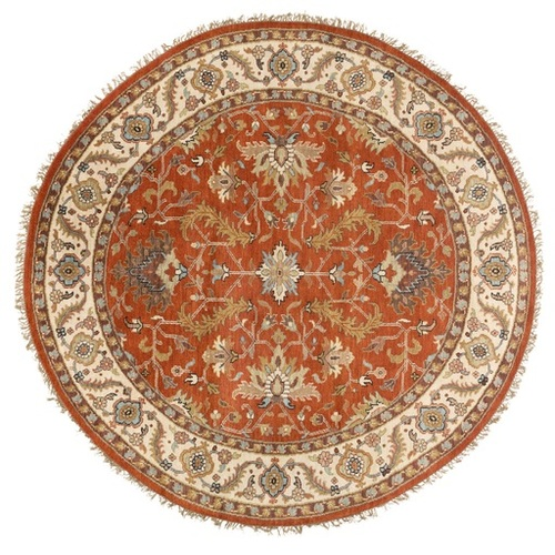 8' Orange and Ivory Round Hand Knotted Wool Area Throw Rug - IMAGE 1