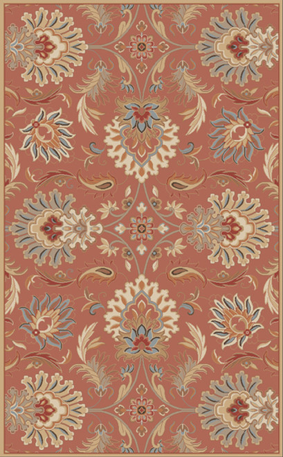 4' x 4' Cornelian Terracotta Red and Brown Hand Tufted Floral Square Wool Area Throw Rug - IMAGE 1