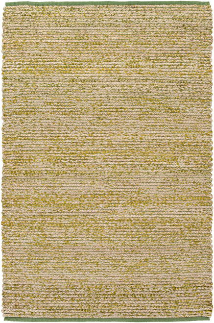 2' x 3' Beige and Green Hand Woven Area Throw Rug - IMAGE 1