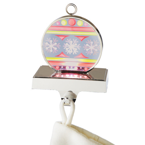 """6.75"""" Red and Yellow Flashing LED Lighted Snowflake Ornament Christmas Stocking Holder - IMAGE 1"""