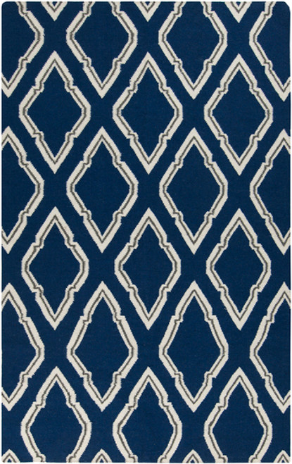 8' x 11' Diamond Scroll White and Navy Blue Hand Woven Wool Area Throw Rug - IMAGE 1
