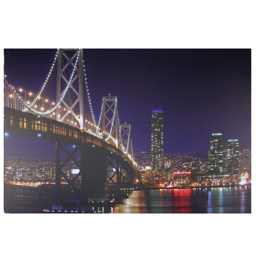 "LED Lighted San Francisco Oakland Bay Bridge Canvas Wall Art 15.75"" x 23.5"" - IMAGE 1"