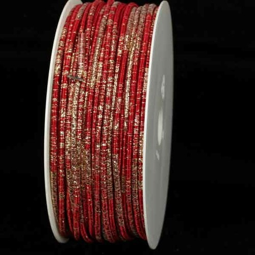 """Burgundy Red and Gold Wired Craft Ribbon 0.25"""" x 55 Yards - IMAGE 1"""