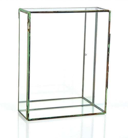 "10"" Clear and Brown Contemporary Terrarium Rectangular Glass Tabletop Decor - IMAGE 1"