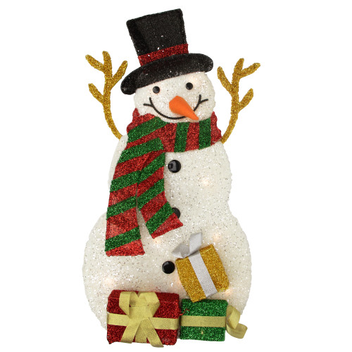 """31"""" Pre-Lit White and Black Snowman with Gifts Outdoor Christmas Decor - IMAGE 1"""