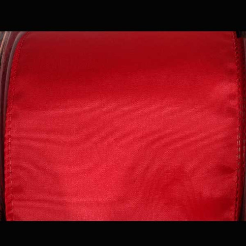 """Red Solid Moire Wired Craft Ribbon 4"""" x 20 Yards - IMAGE 1"""