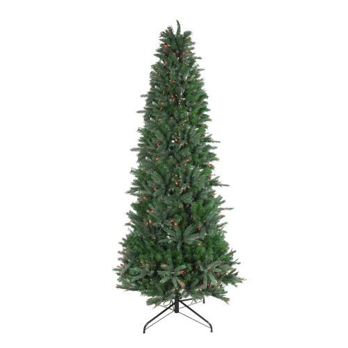 7.5' Pre-Lit Slim Vermont Fir Instant Shape Artificial Christmas Tree - Multi-Color Dura-Lit Lights - IMAGE 1