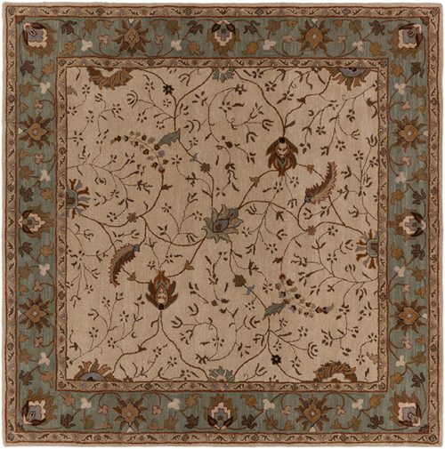 9.75' x 9.75' Porcius Gray and Brown Hand Tufted Floral Square Wool Area Throw Rug - IMAGE 1