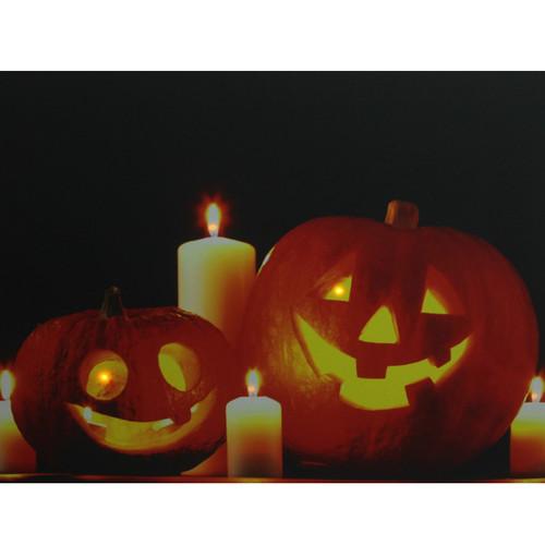 """Orange and Black LED Lighted Halloween Jack-o'-Lanterns Wall Art 15.75"""" x 19.5"""" - IMAGE 1"""