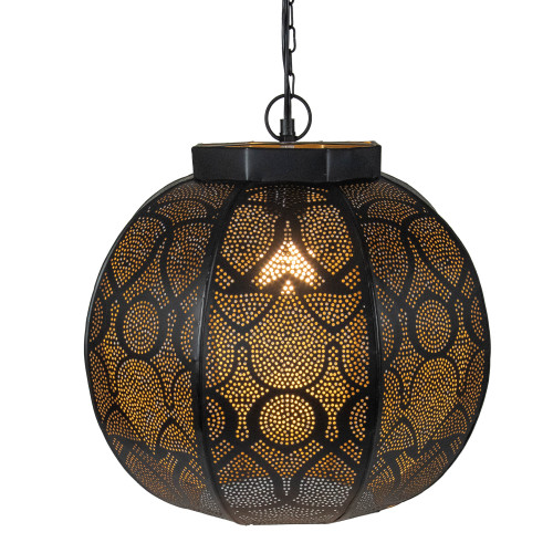 """14.5"""" Black and Gold Moroccan Style Hanging Lantern Ceiling Light Fixture - IMAGE 1"""