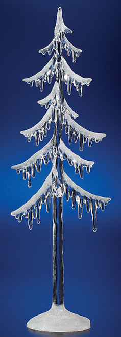 "Pack of 6 Icy Crystal Illuminated Decorative Christmas Icicle Tree Figures 12.5"" - IMAGE 1"