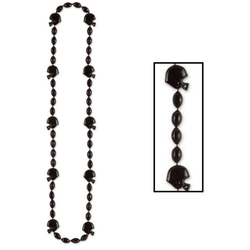 """Club Pack of 12 Black Football Helmet Beaded Party Necklaces 36"""" - IMAGE 1"""