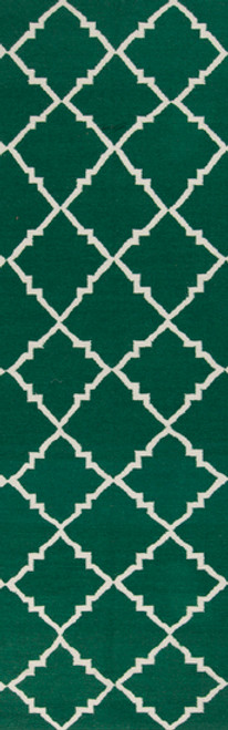2.5' x 8' White and Green Wool Area Throw Rug Runner - IMAGE 1