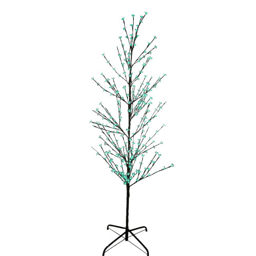 6' Pre-Lit Enchanted Garden Cherry Blossom Flower Artificial Spring Tree - Green LED Lights - IMAGE 1