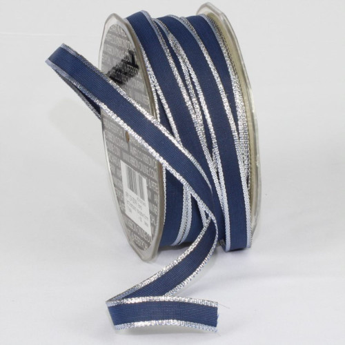 """Navy Blue and Silver French Wired Craft Ribbon 0.25"""" x 108 Yards - IMAGE 1"""
