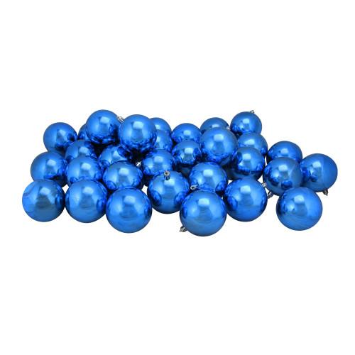 "32ct Lavish Blue Shatterproof Christmas Ball Ornaments 3.25"" (80mm) - IMAGE 1"