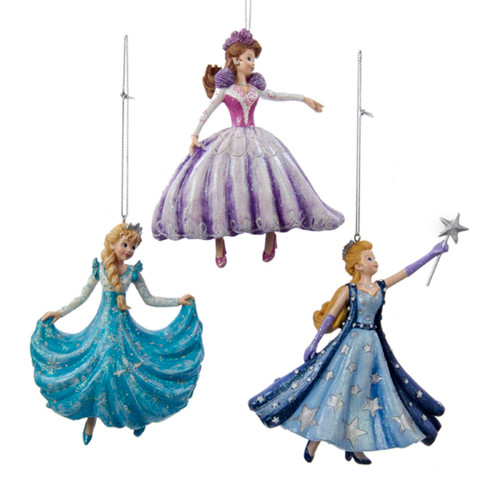 "Set of 3 Aqua Blue and White Glitter Drenched Dancing Princess Christmas Ornaments 4.25"" - IMAGE 1"