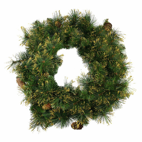 Mixed Pine Glittered Pine Cone Artificial Christmas Wreath - 24-Inch, Unlit - IMAGE 1