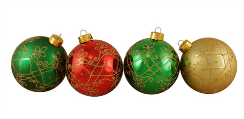 """4ct Vibrantly Colored Glittered Geometric Shatterproof Christmas Ball Ornaments 3.25"""" (80mm) - IMAGE 1"""