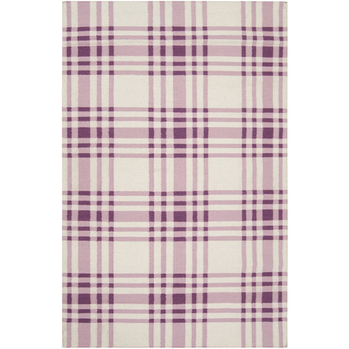 3.5' x 5.5' White and Purple Plaid Pattern Wool Area Throw Rug - IMAGE 1