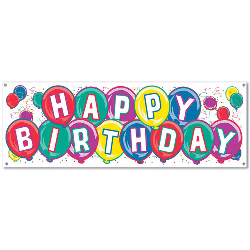 Club Pack of 12 Multi-Colored Happy Birthday Sign Banner Party Decorations 5' - IMAGE 1
