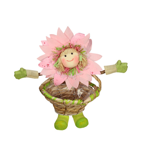 """15"""" Pink, Green and Tan Spring Floral Sunflower Girl with Basket Decorative Figure - IMAGE 1"""