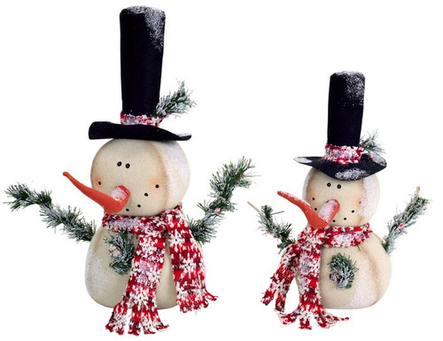 """Set of 2 White and Red Jolly Snowmen Christmas Tabletop Figurines 15"""" - IMAGE 1"""
