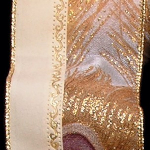 """Ivory and Gold Peacock Print Wired Craft Ribbon 2.5"""" x  20 Yards - IMAGE 1"""